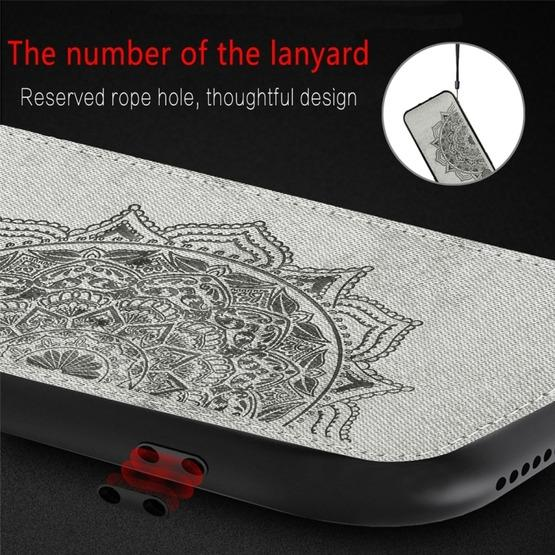 For Huawei P30 Embossed Mandala Pattern PC + TPU + Fabric Phone Case with Lanyard & Magnetic(Black) - 9