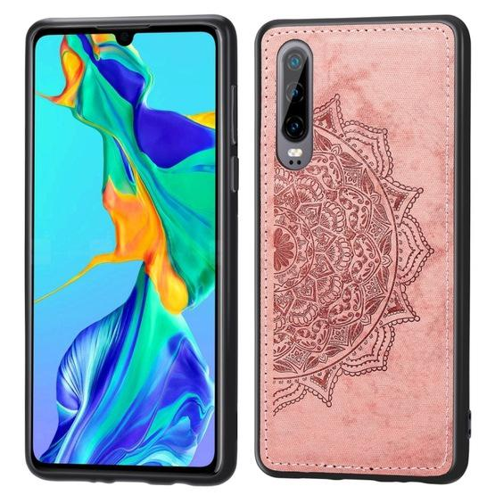For Huawei P30 Embossed Mandala Pattern PC + TPU + Fabric Phone Case with Lanyard & Magnetic(Rose Gold) - 1