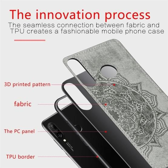 For Huawei P30 Lite & Nova 4E Embossed Mandala Pattern PC + TPU + Fabric Phone Case with Lanyard & Magnetic(Gray) - 4