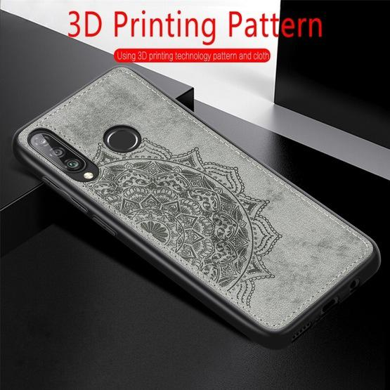 For Huawei P30 Lite & Nova 4E Embossed Mandala Pattern PC + TPU + Fabric Phone Case with Lanyard & Magnetic(Gray) - 7