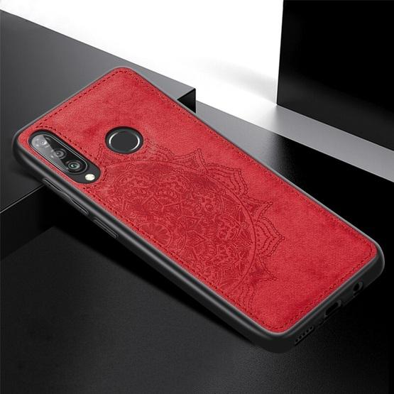 For Huawei P30 Lite & Nova 4E Embossed Mandala Pattern PC + TPU + Fabric Phone Case with Lanyard & Magnetic(Red) - 2