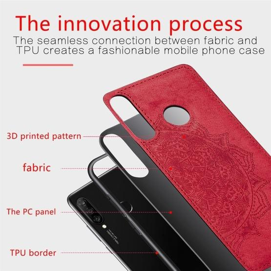 For Huawei P30 Lite & Nova 4E Embossed Mandala Pattern PC + TPU + Fabric Phone Case with Lanyard & Magnetic(Red) - 4