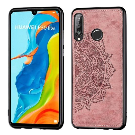 For Huawei P30 Lite & Nova 4E Embossed Mandala Pattern PC + TPU + Fabric Phone Case with Lanyard & Magnetic(Rose Gold) - 1