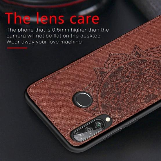 For Huawei P30 Lite & Nova 4E Embossed Mandala Pattern PC + TPU + Fabric Phone Case with Lanyard & Magnetic(Rose Gold) - 6
