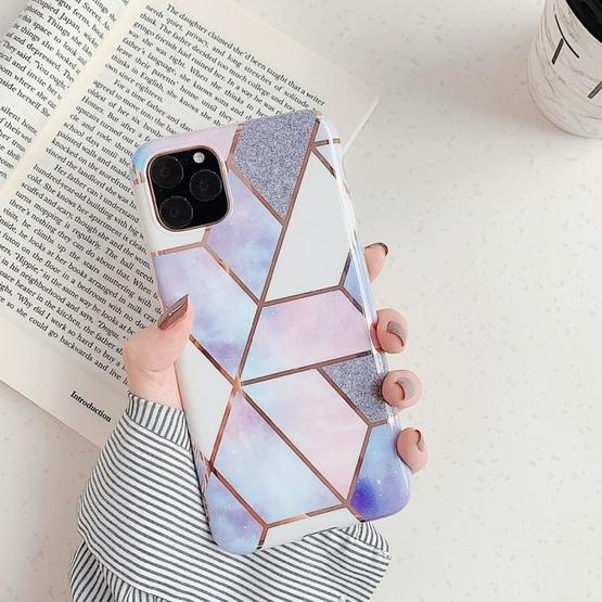 For iPhone 11 Pro Max   Plating Colorful Geometric Pattern Mosaic Marble TPU Mobile Phone Case(Purple PJ4) - 1
