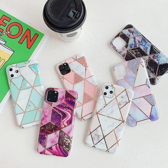 For iPhone 11 Pro Max   Plating Colorful Geometric Pattern Mosaic Marble TPU Mobile Phone Case(Purple PJ4) - 3