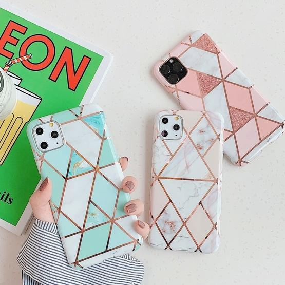 For iPhone 11 Pro Max   Plating Colorful Geometric Pattern Mosaic Marble TPU Mobile Phone Case(Purple PJ4) - 4
