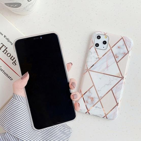 For iPhone 11 Pro Max   Plating Colorful Geometric Pattern Mosaic Marble TPU Mobile Phone Case(Purple PJ4) - 8
