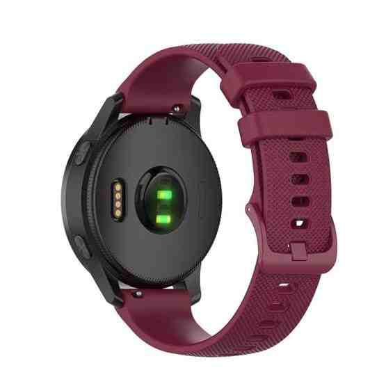 20mm Silicone Strap For Huami Amazfit GTS / Samsung Galaxy Watch Active 2 / Gear Sport(Wine red) - 2