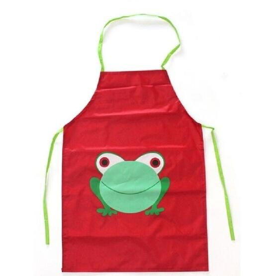 Children Cartoon Frog Pattern Apron Drawing Sleeves Painting Clothes Color Dark Red Small Flutter Shopping Universe