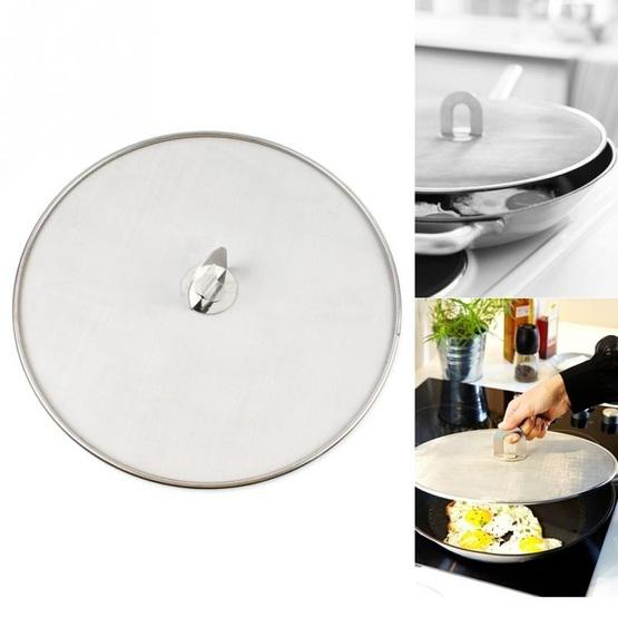 2 Pcs Stainless Steel Oil Proof Cover Fried Oil Splash Proof Net Cover Pizza Tray Kitchen Gadget Size 33cm Stainless Steel Flutter Shopping Universe