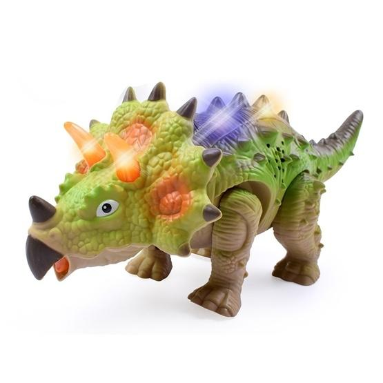 Simulation Luminous Sound Electric Universal Dinosaur Model Toy Boy Gift(Triceratops(Rondom Colors)) - 1