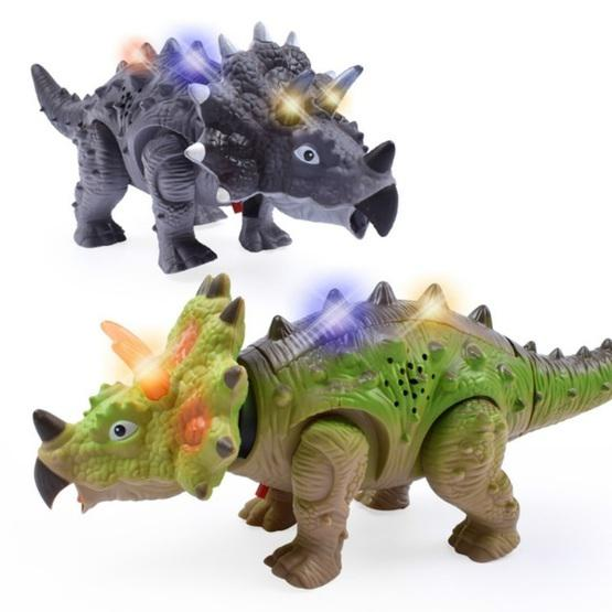 Simulation Luminous Sound Electric Universal Dinosaur Model Toy Boy Gift(Triceratops(Rondom Colors)) - 3