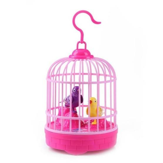 Voice-activated Electric Birdcage Mini Children Toys(Red) - 1