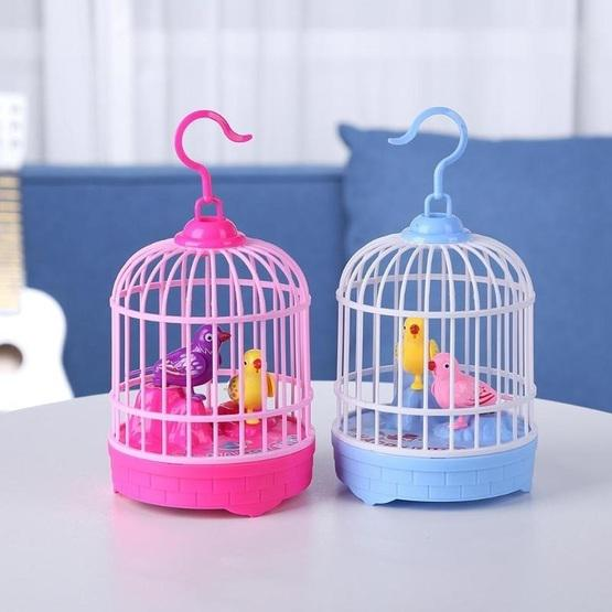 Voice-activated Electric Birdcage Mini Children Toys(Red) - 4