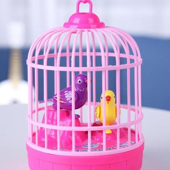 Voice-activated Electric Birdcage Mini Children Toys(Red) - 5