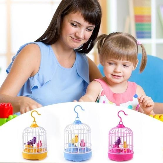 Voice-activated Electric Birdcage Mini Children Toys(Red) - 6