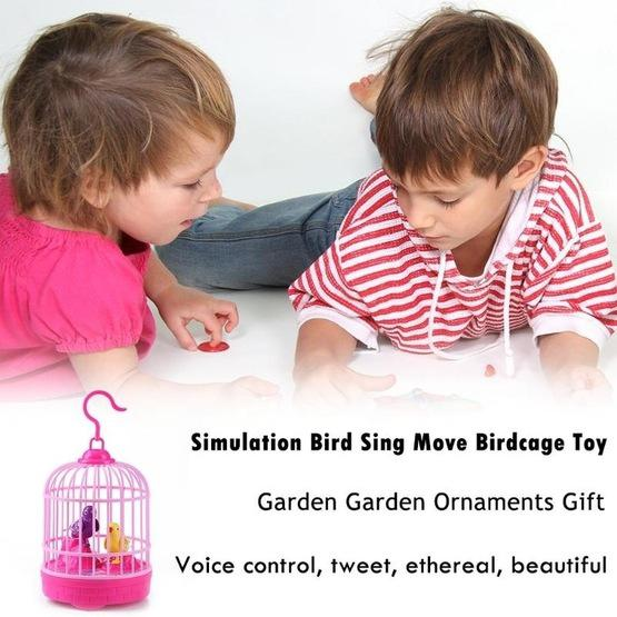 Voice-activated Electric Birdcage Mini Children Toys(Red) - 7