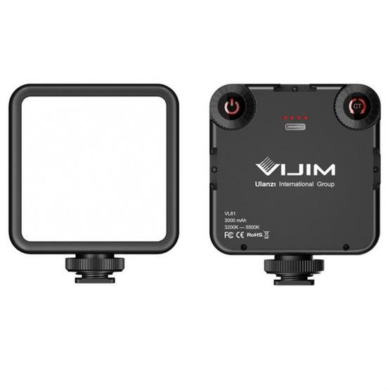 VIJIM VL81 Portable Three Cold and Hot Shoes Dual Color Temperature Fill Light Shooting Recording Lighting Light - 1
