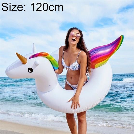 Summer Inflatable Unicorn Shaped Float Pool Lounge Swimming Ring Floating Bed Raft, Size: 120cm - 1
