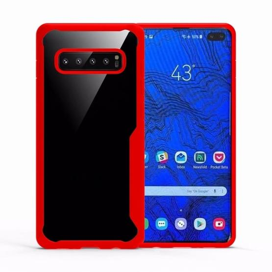 Transparent PC + TPU Full Coverage Shockproof Protective Case for Galaxy S10+ (Red) - 1