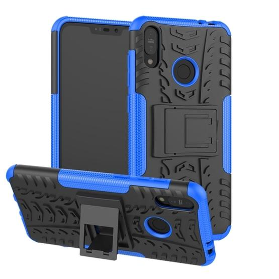the latest 27441 5a9b3 Tire Texture TPU+PC Shockproof Case for Asus Zenfone Max (M2), with Holder  (Blue)